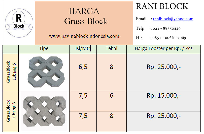 Harga Grass Block Termurah 2017