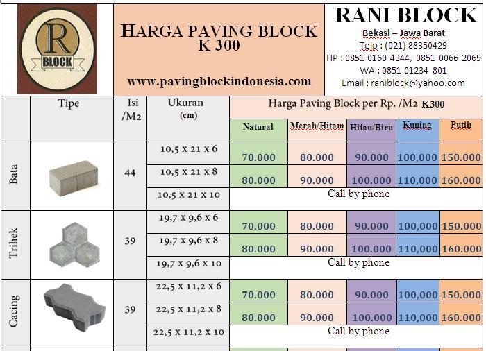 Harga Paving Block 2018