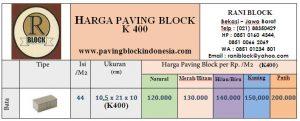 Harga Paving Bata Tebal 10 cm (K400)