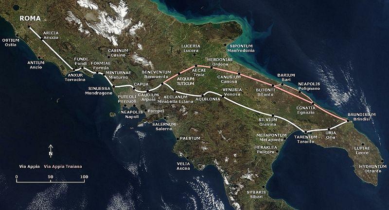 Jalur Via Appia dan Via Appia Traiana.