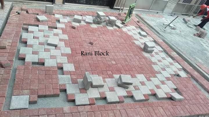 Membentuk pola dengan pasangan paving block Ubin dan Kubus